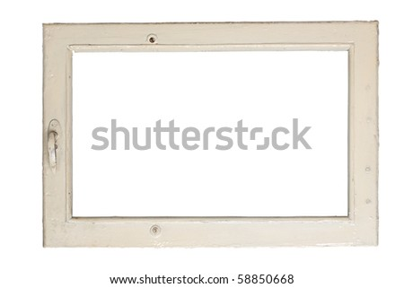 very old window frame isolated on white background with clipping path