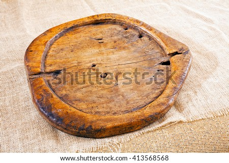 Very old wooden cutting board - stock photo