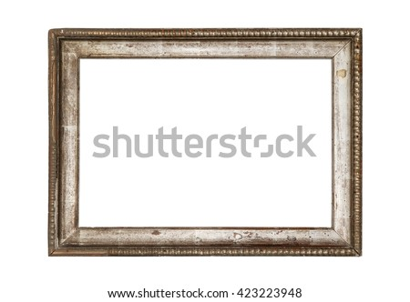 Very old wooden frame. Isolated on white background. - stock photo