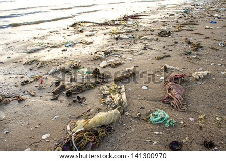 Very polluted beach - stock photo
