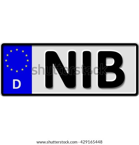 very popular and recently approved optional license plate number for Suedtondern in Niebuell (german city-name), 3D-Illustration - stock photo