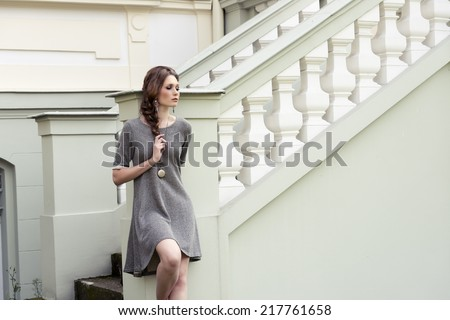 very pretty lady posing in fashion outdoor portrait wearing elegant gray dress and lovely braid hair-style  - stock photo