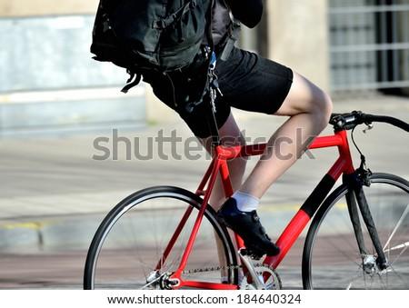 Very red bike, close-up - stock photo