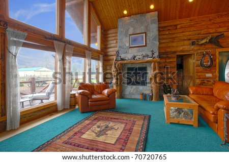 Rustic cabin interior stock images royalty free images for Very small cabins