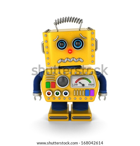 Very sad vintage toy robot is about to cry over white background