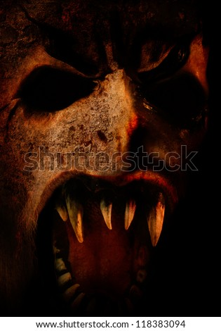 very Scary horror face for you halloween or dark party - stock photo