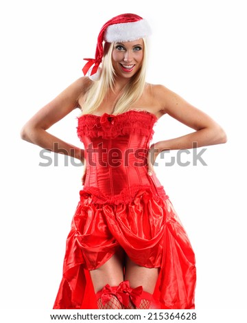 very sexy smiling and happy christmas woman in red dance style lingerie or corset on a white background - stock photo
