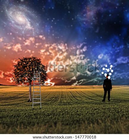 Very shallow focus symbolic landscape - stock photo