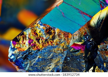 Very sharp Titanium rainbow aura quartz crystal cluster stone taken with macro lens stacked from many shots into one sharp image. - stock photo