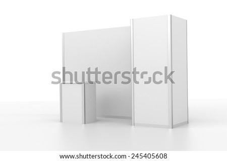 very simple white booth or stall - stock photo