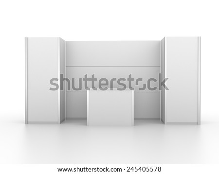 very simple white booth or stall from front - stock photo
