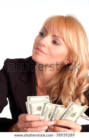 very successful businesswoman with her money on white