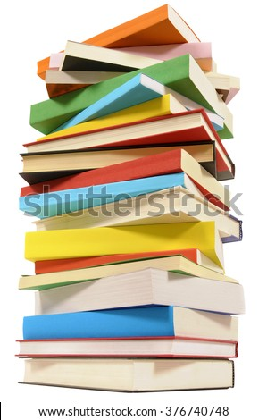 Very tall pile of books isolated on white background, low angle view - stock photo