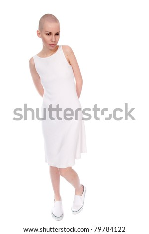Very Thin Woman is summer dress. - stock photo