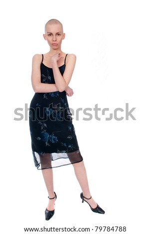 Very thin young woman in summer clothes - stock photo