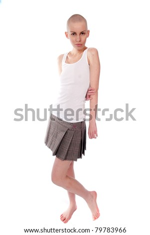 Very thin young woman with bald head - stock photo