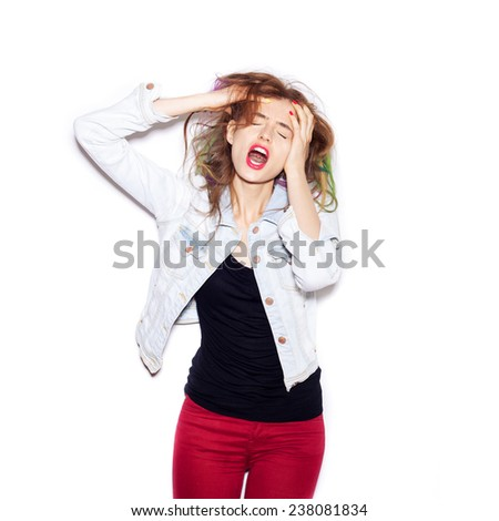Very upset and emotional woman over white background, not isolated. Crying girl - stock photo