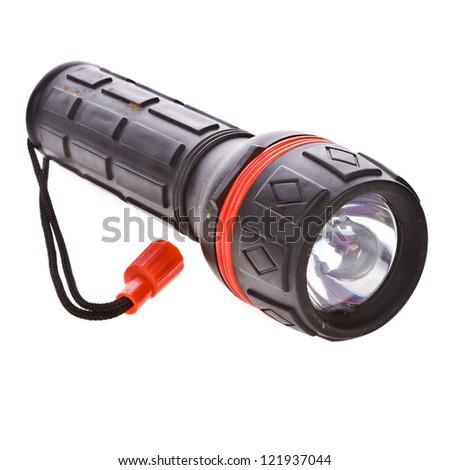 very used  LED  flashlight switched on, isolated on white background - stock photo