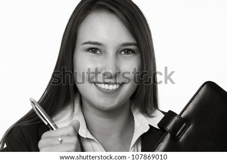 very young looking happy business woman with a big smile - stock photo