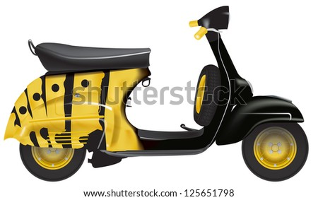 vespa scooters 50 years in white background - stock photo