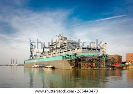 Vessel Bonn in a floating dock. - stock photo