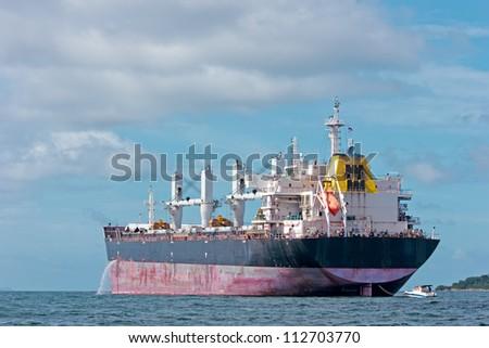 Vessel Cargo with crane - stock photo