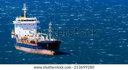Vessel in a sea - stock photo