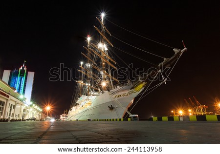 Vessel  sailing ship transporting people or goods by sea. - stock photo