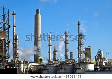 Vessels and columns in a chemical plant - stock photo