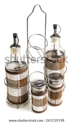 Vessels for spices in the kitchen. Microstock photography for over a white background - stock photo
