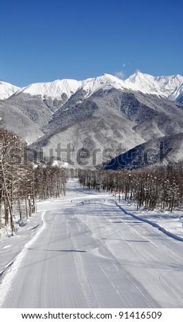 Vestical top view of ski resort in Krasnaya Polyana, Sochi - stock photo