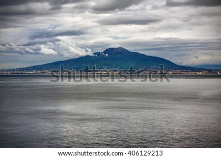 Vesuvio volcano and Naples seen from the sea (photo taken in Sorrento, Italy)