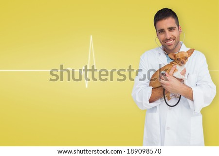 Vet holding chihuahua against medical background with ecg line in yellow - stock photo