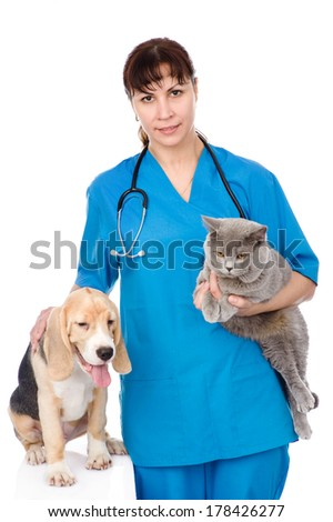 vet with cat and dog. isolated on white background