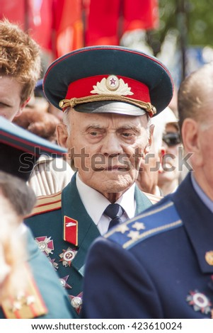 Veteran of the Great Patriotic War (the Second World War 1939-1945) on parade in Vinnitsa (Ukraine) on May 09 2010
