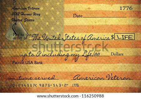 veteran's bank check with vintage grungy texture