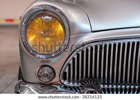 veteran silver car - stock photo