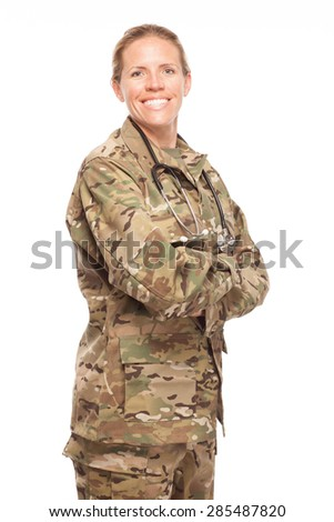 Veteran soldier Female Army doctor or nurse in uniform on white background.  Female US Soldier in the medical field. - stock photo