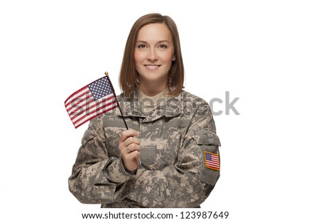 Veteran soldier Female holding an American Flag