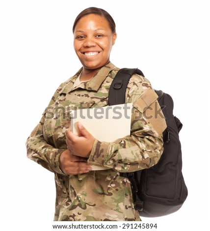 VETERAN SOLDIER | MILITARY COLLEGE BENEFITS | CASH FOR SCHOOL | African American female army soldier with education benefits from the military. - stock photo