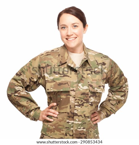 Veteran soldier Military female with hands on hips. Attractive Army soldier wearing camouflage on white background. - stock photo