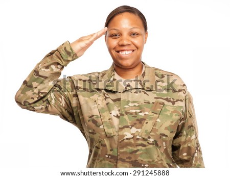 Veteran Soldier saluting and smiling. African American Woman in the military. - stock photo