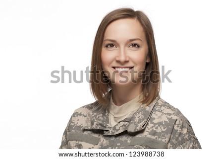 Veteran soldier smiling in uniform. - stock photo