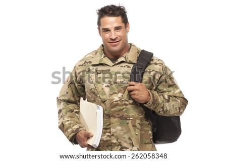 Veteran soldier | Smiling soldier with bag and books against white background - stock photo