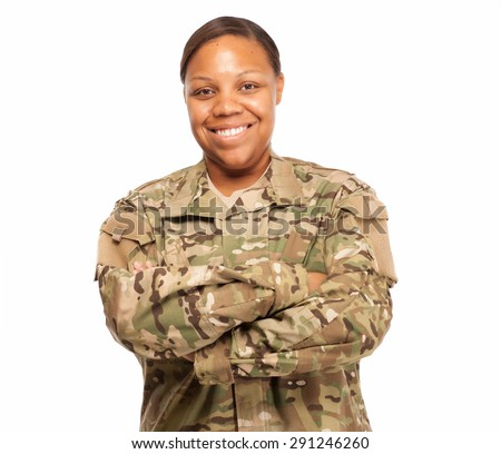 Veteran Soldier smiling with arms crossed. African American Woman in the military. - stock photo