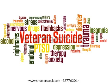 Veteran Suicide, word cloud concept on white background. - stock photo