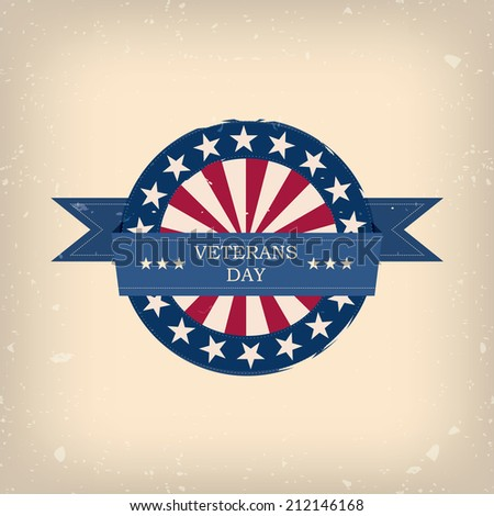 Veterans day badge illustration for posters, flyers, decoration etc. - stock photo