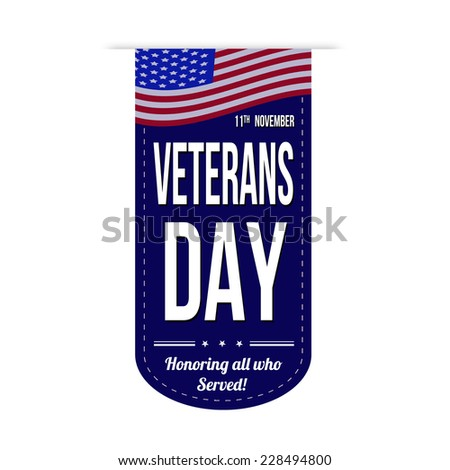 Veterans day banner design over a white background - stock photo
