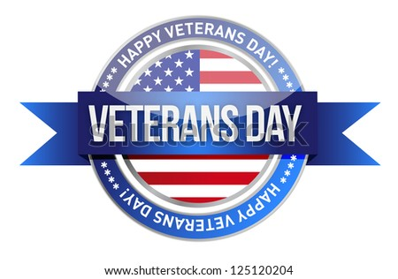 veterans day. us seal and banner illustration design - stock photo