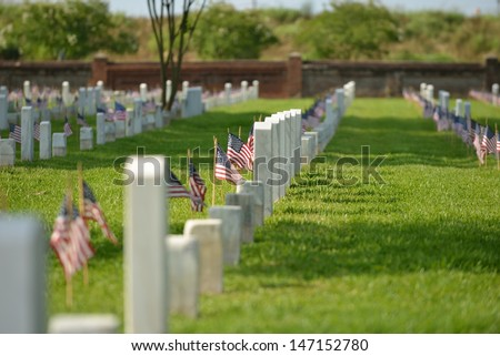 veterans memorial cemetery flags American National - stock photo